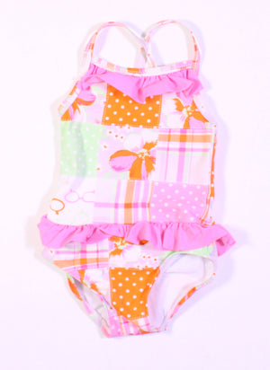 HEARTSTRINGS PLAID SWIMSUIT 24M EUC
