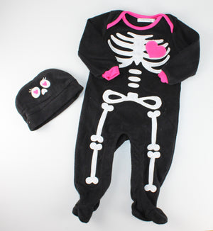 GEORGE FLEECE SKELETON COSTUME & HAT 6-12M EUC