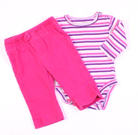 CARTERS PINK AND PURPLE OUTFIT 3M EUC