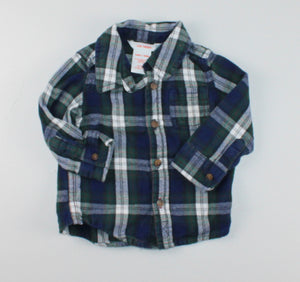 JOE FRESH PLAID DRESS SHIRT 6-12M VGUC