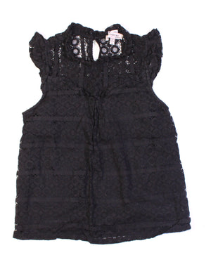 MONTEAU BLACK LACE TOP LADIES SMALL EUC