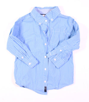 GYMBOREE BLUE STRIPED LS TOP 3-4Y EUC