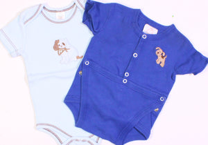 DOG ONESIES DARK BLUE 3M LIGHT BLUE 6-9M VGUC