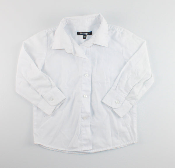 GEORGE WHITE DRESS SHIRT 3Y EUC