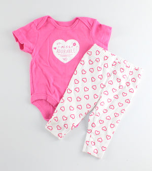JOE FRESH HEART OUTFIT 3-6M EUC