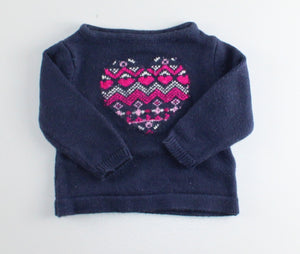 OSH KOSH HEART SWEATER 3M EUC