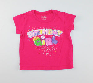 CARTERS PINK BIRTHDAY GIRL SHIRT 12M EUC