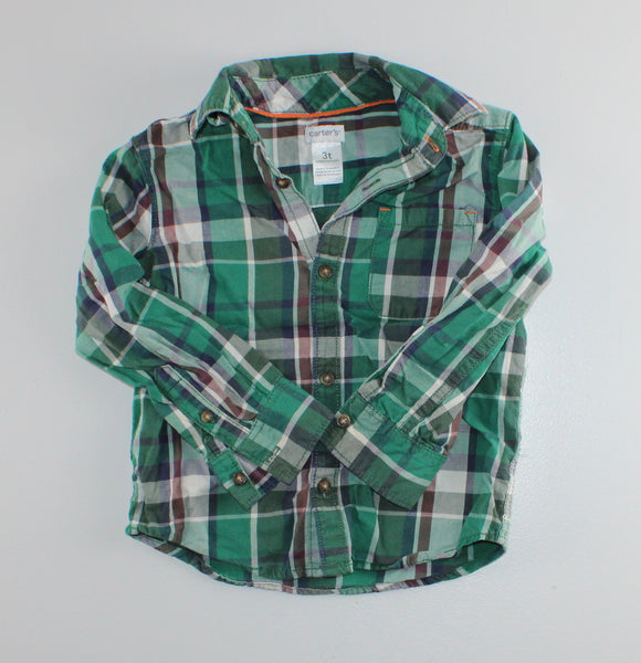 CARTERS GREEN PLAID L/S SHIRT 3T VGUC