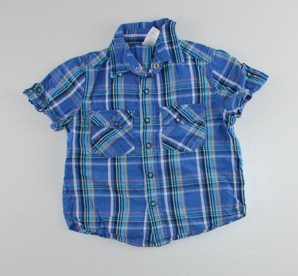 GEORGE BLUE PLAID SHIRT 3T VGUC