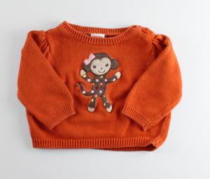 GYMBOREE MONKEY SWEATER 3-6M EUC