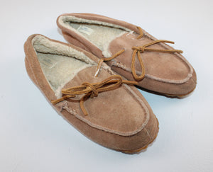 LANDS END BROWN SUEDE SLIPPERS SIZE 3 VGUC