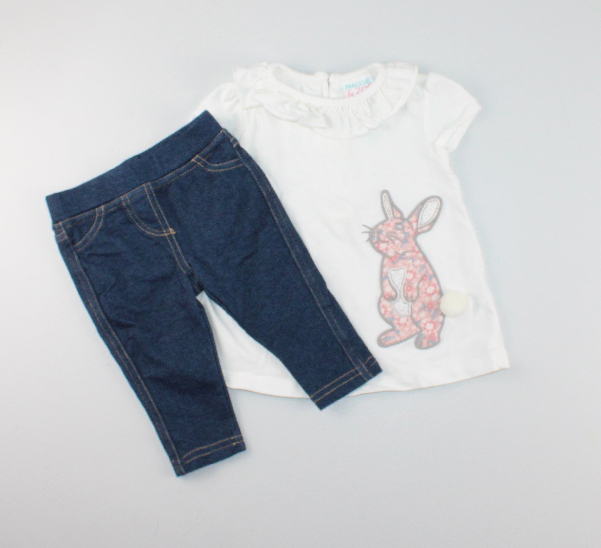 MAGGIE & ZOE BUNNY TOP WITH JEANS 3-6M EUC