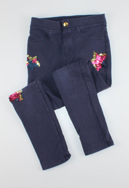 H&M NAVY SEQUIN STAR PANTS 9-10Y EUC