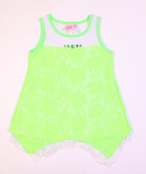 LIPSTICK GIRLS NEON GREEN LACE TOP 5Y EUC