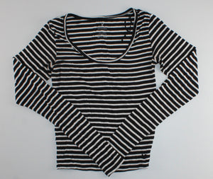 AMERICAN EAGLE BLACK STRIPED STRETCH TOP LADIES XS EUC