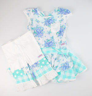 NAARTJIE BLUE FLORAL OUTFIT 12-18M/18-24M EUC