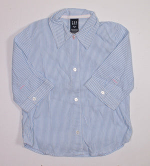 GAP LIGHT BLUE STRIPED DRESS SHIRT 4Y EUC