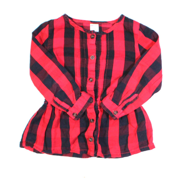 CARTERS RED PLAID TOP 3T EUC