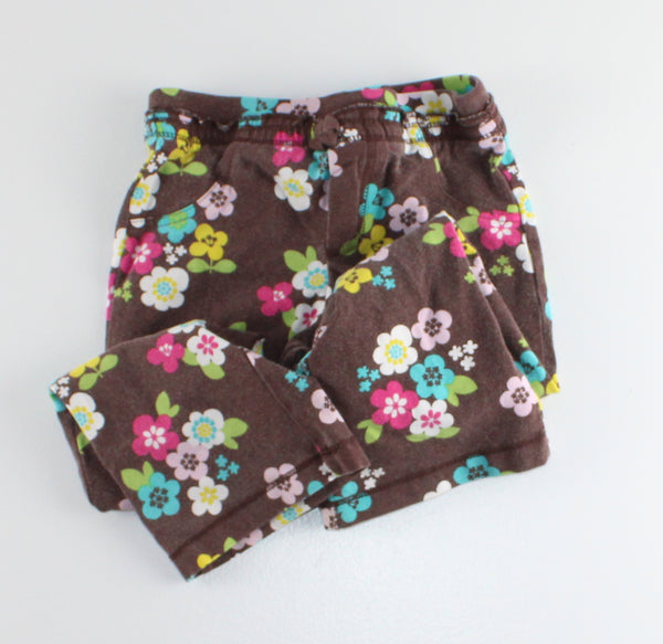 CARTERS BROWN FLORAL PANT 3Y VGUC