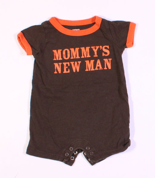 CARTERS BROWN ROMPER 3M EUC