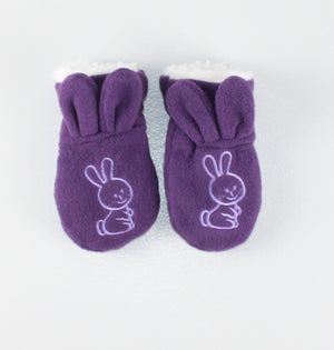 PURPLE BUNNY MITTS APPROX 6-12M EUC
