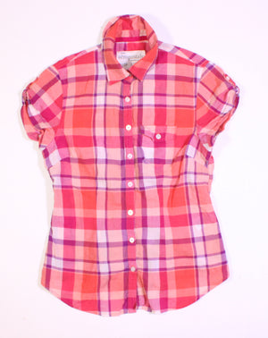 AEROPOSTALE PLAID TOP LADIES XS EUC