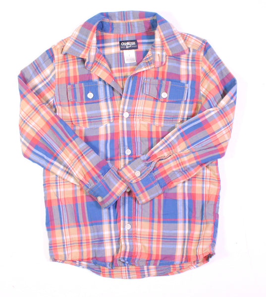 OSH KOSH PLAID TOP LS 7Y EUC
