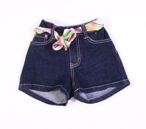 GYMBOREE JEAN SHORTS WITH BUILT IN BELT 5Y EUC