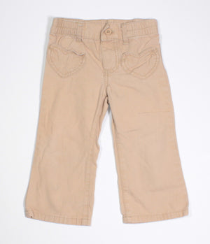 CARTERS TAN HEART POCKET PANTS 18M VGUC