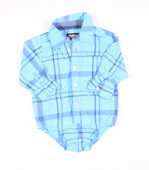 OSH KOSH BLUE PLAID TOP 12M EUC