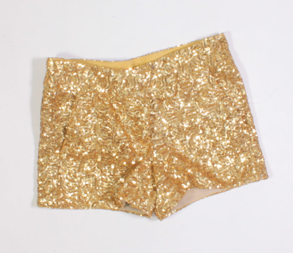 JOE FRESH GOLD SEQUIN SHORTS LADIES SIZE 0 EUC