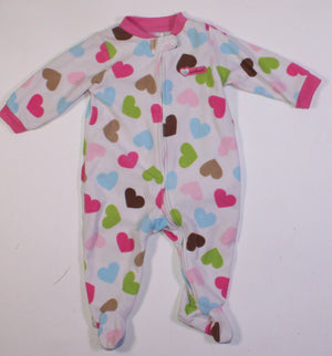 CARTERS FLEECE HEART SLEEPER 6M VGUC