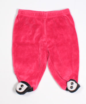 VELOUR RED BOTTOMS 0-3M EUC