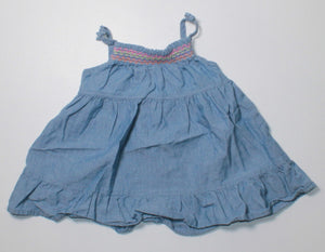 TCP BLUE DENIM DRESS 3-6M EUC