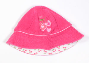 CHERRY TERRI CLOTH SUNHAT REVERSIBLE APPROX 1-2Y