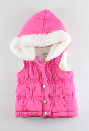 OLD NAVY PINK FLEECE LINED VEST 3-6M EUC