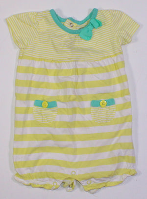 CARTERS YELLOW STRIPED ROMPER 6M EUC