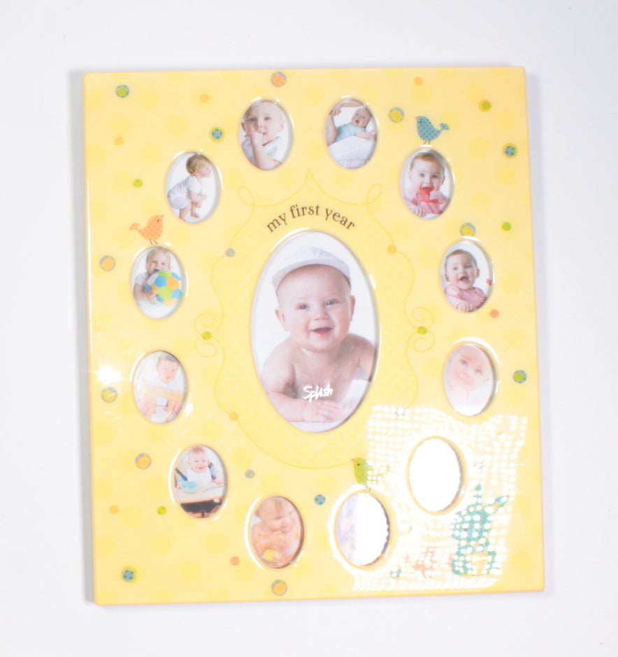 LARGE YELLOW RESIN YEAR PHOTO FRAME EEUC