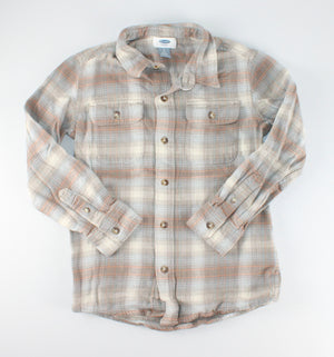 OLD NAVY PLAID LS TOP 6-7Y EUC