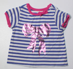 OLD NAVY BLUE SEQUIN BOW TOP 3-6M EUC