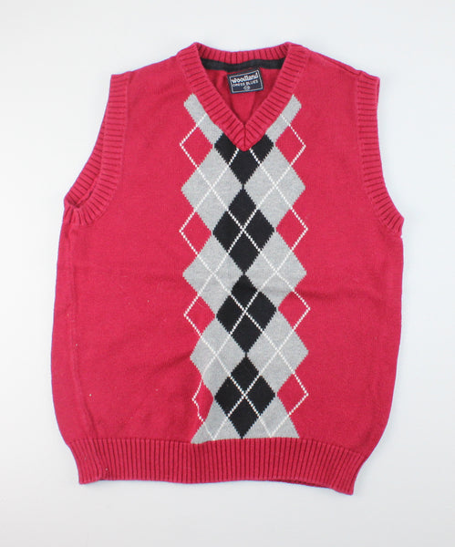 WOODLAND ARGYLE RED VEST 7/8Y EUC