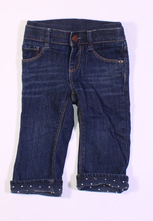 GAP POLKA DOT LINED JEANS 12-18M EUC