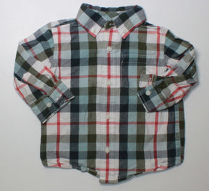 GYMBOREE PLAID LS TOP 12-18M EUC