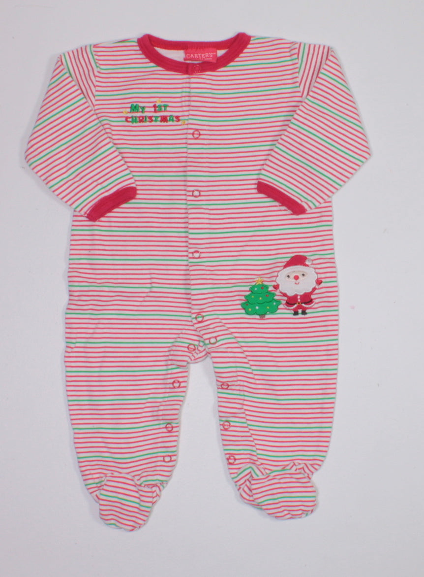 CARTERS FIRST CHRISTMAS COTTON PJS 12M EUC