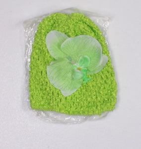 GREEN CROCHET BEANIE WITH FLOWER APPROX NEWBORN-3M NEW!