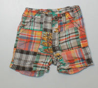 OLD NAVY PLAID SHORTS 3-6M EUC