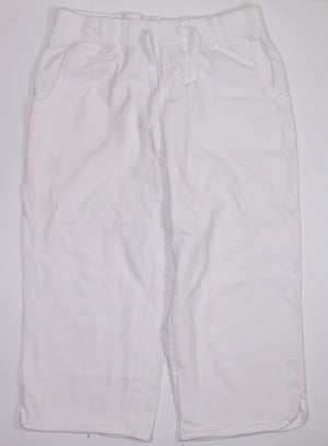 GEORGE WHITE CAPRI LENGTH TRACK PANTS LADIES MEDIUM EUC