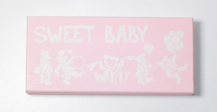 SMALL SWEET BABY PINK WOODEN SIGN FROM HOMESENSE EUC