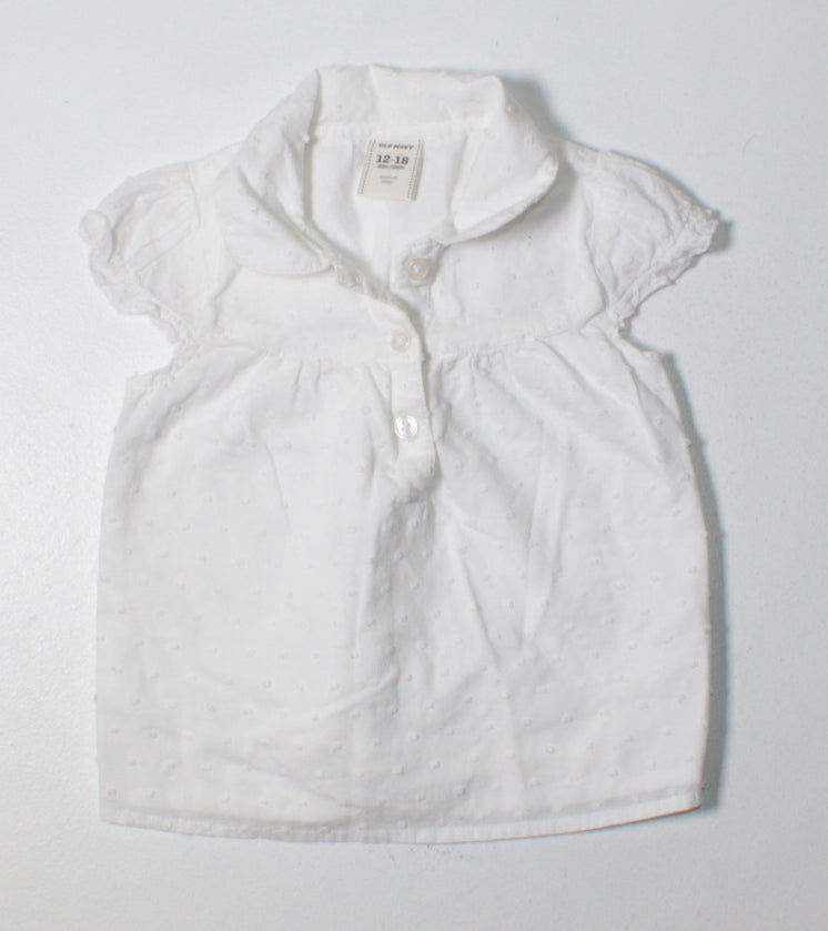 OLD NAVY WHITE BLOUSE 12-18M EUC
