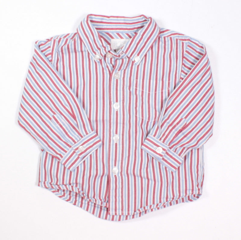 TCP STRIPED DRESS SHIRT BLUE AND RED 12M EUC